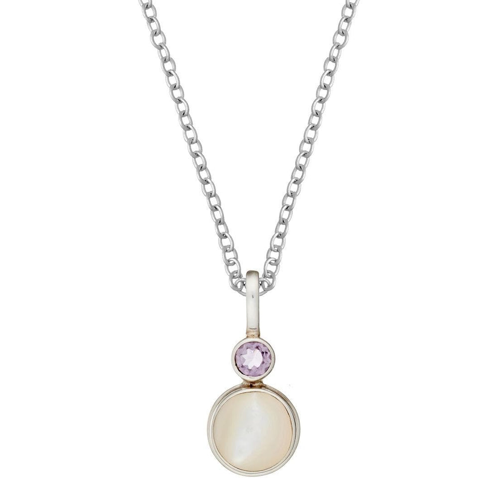 Sterling Silver Mother of Pearl Amethyst Pendant Necklace