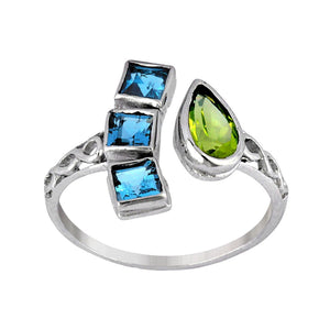 Sterling Silver Blue Topaz and Peridot Gemstone Ring