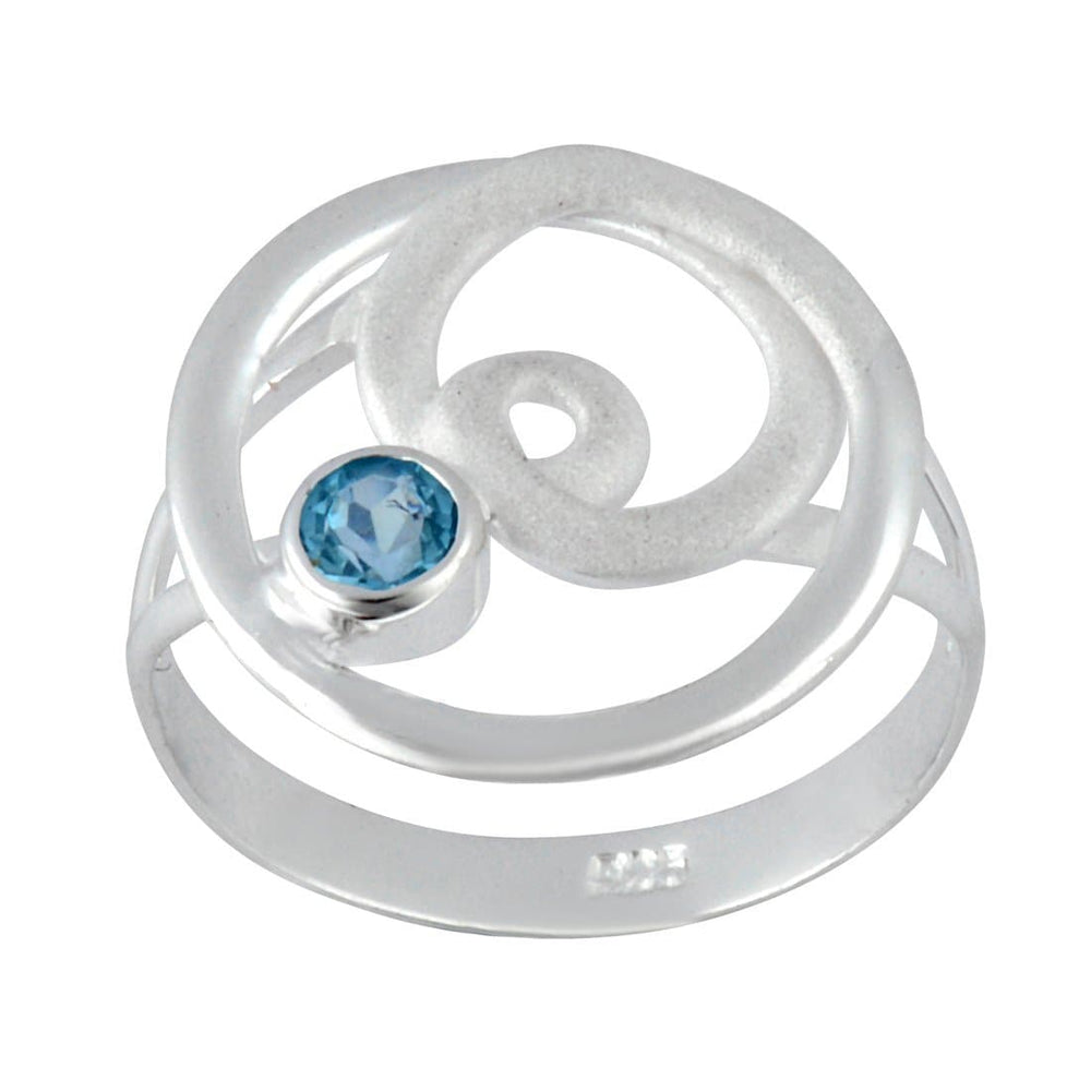 Load image into Gallery viewer, Sterling Silver Blue Topaz Gemstone Swirl Twist Ring