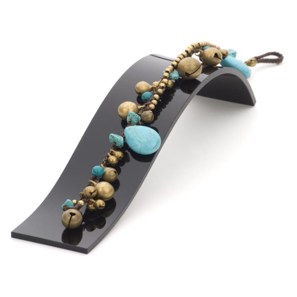 Load image into Gallery viewer, Gold Brass Simulated Turquoise Teardrop Bead Anklet Bracelet