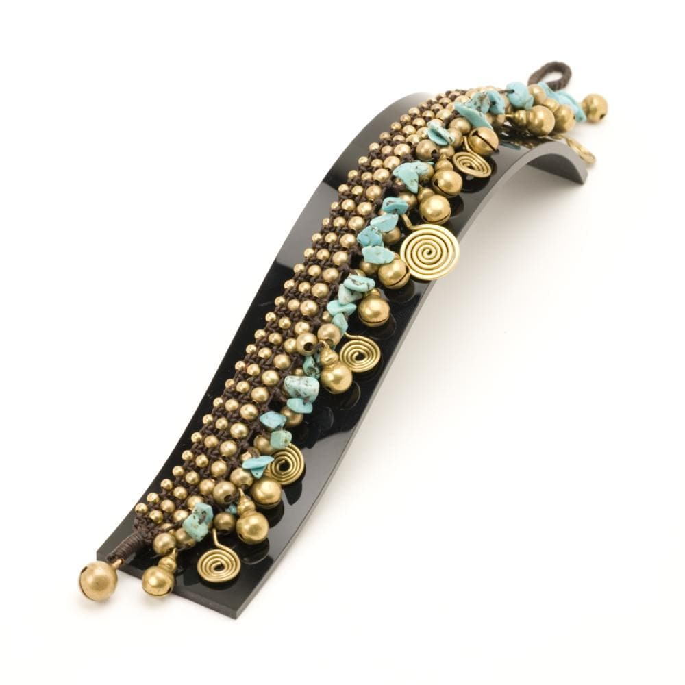Gold Brass Simulated Turquoise Spiral Bead Ankle Bracelet
