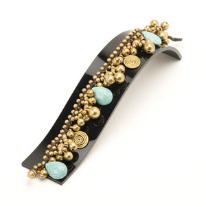 Gold Brass Simulated Turquoise Spiral Bead Ankle Anklet Bracelet