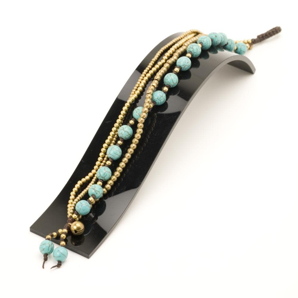 Gold Brass Simulated Turquoise Round Bead Ankle Bracelet