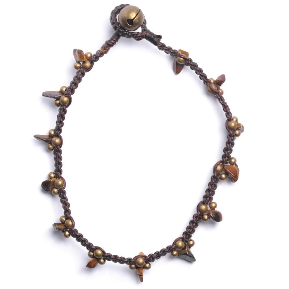 Gold Brass Simulated Tiger Eye Chip Bead Anklet Bracelet