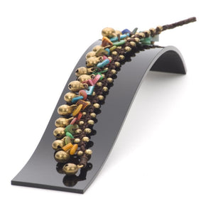 Load image into Gallery viewer, Gold Brass Multi Coloured Shell Bead Bracelet