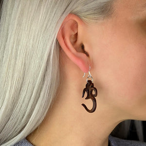 Load image into Gallery viewer, Sterling Silver & Wood Om Aum Indian Dangle Earrings