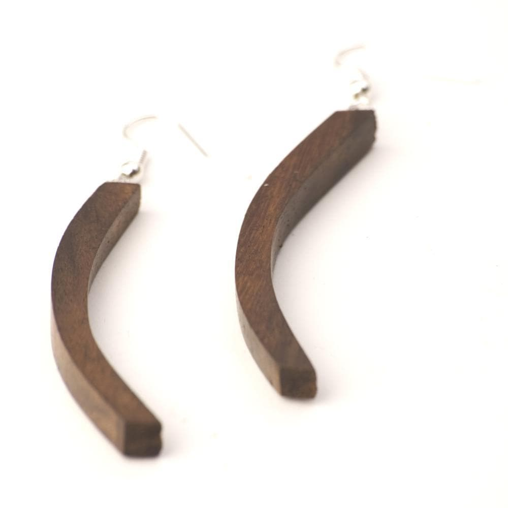 Sterling Silver & Wood Curved Long Brown Dangle Earrings