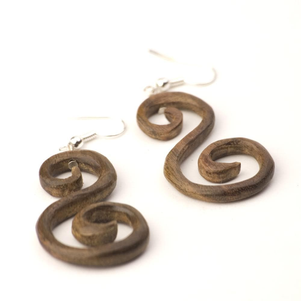 "Sterling Silver & Wood Round ""S"" Spiral Tribal Brown Earrings"