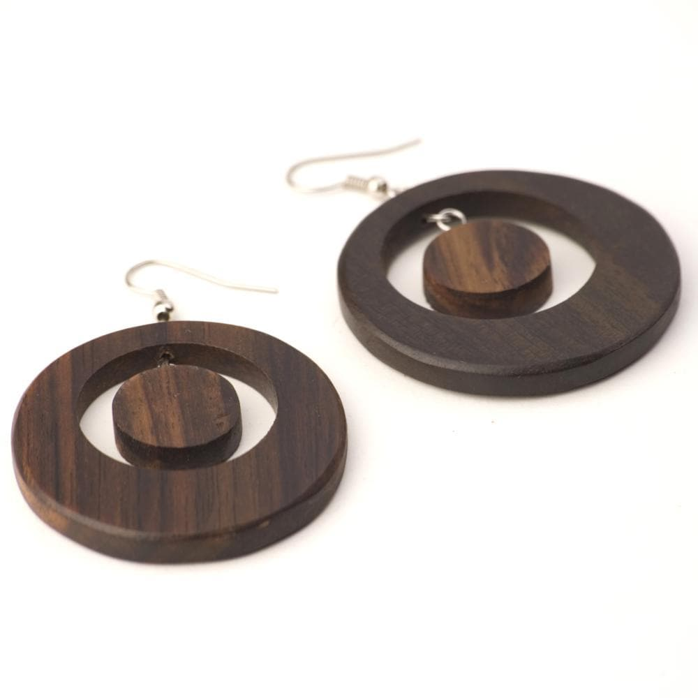 Sterling Silver & Wood Round Brown Hoop Earrings