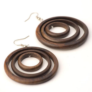Sterling Silver & Wood Round Brown Dangle Hoop Earrings