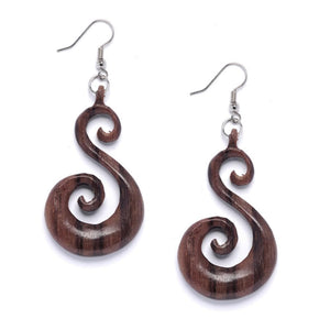 Load image into Gallery viewer, Sterling Silver & Wood Spiral Tribal Maori Dangle Earrings
