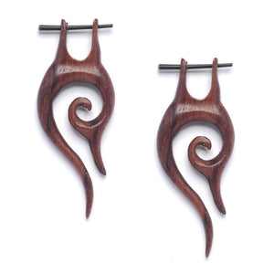 Wood Hand Made Stick Fish Hook Tribal Earrings