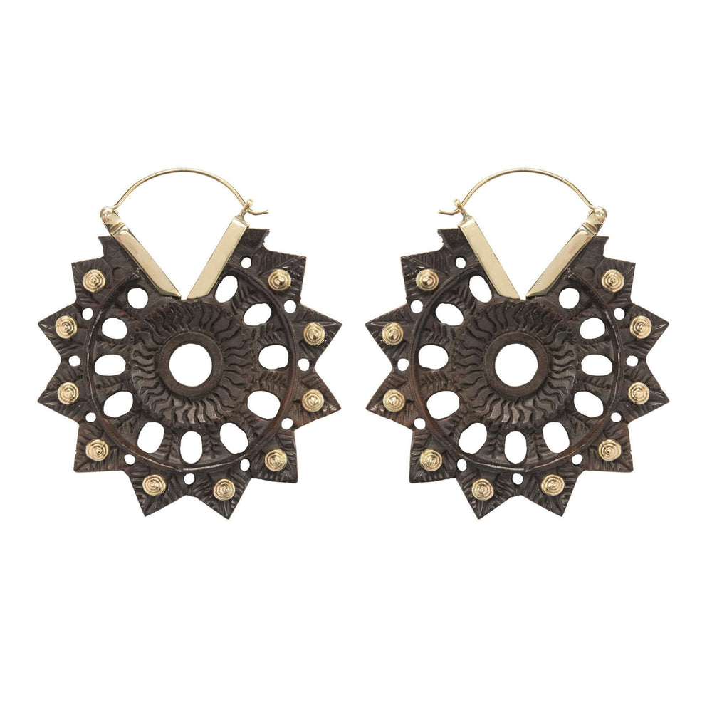 Gold Brass & Wood Sun Mandala Earrings