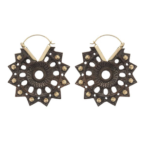 Load image into Gallery viewer, Gold Brass & Wood Sun Mandala Earrings