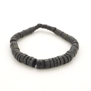 Wood Black Stretch Graded Beads Adjustable Tribal Bracelet