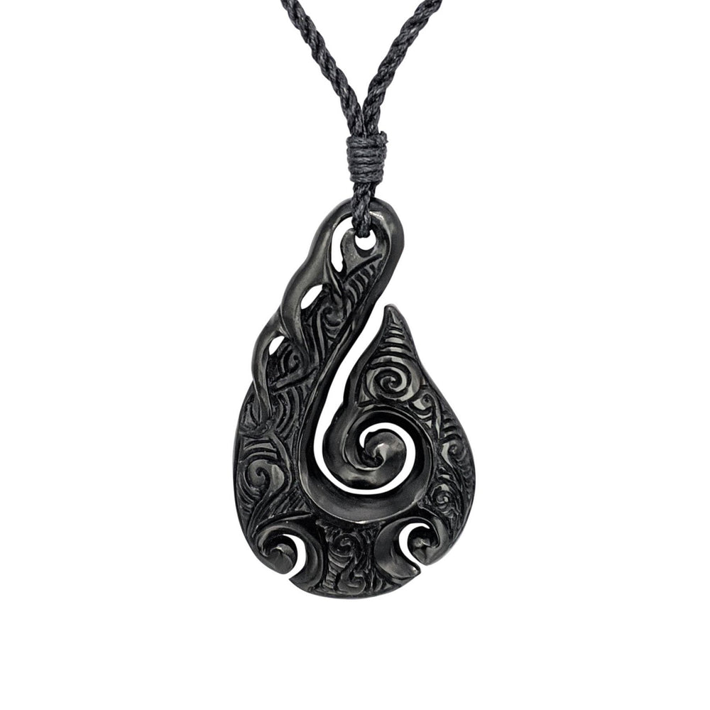 Hand Carved Horn Engraved Wave Hei Matau Pendant Necklace