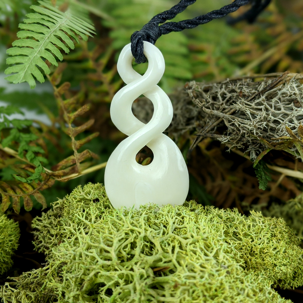 Bone Maori Tribal Double Twist Charm Pendant Necklace