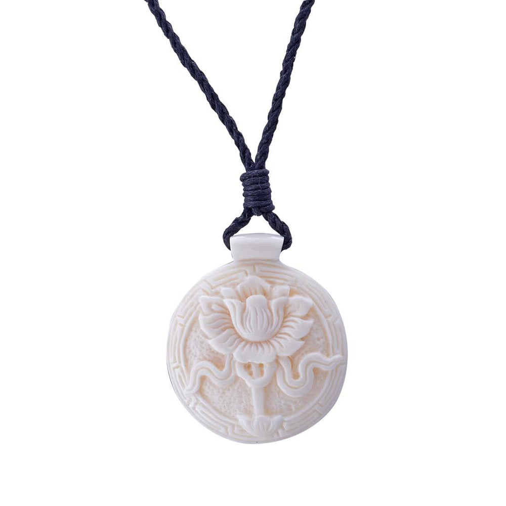 Bone Tibetan Lotus Flower Buddha Amulet Charm Pendant Necklace