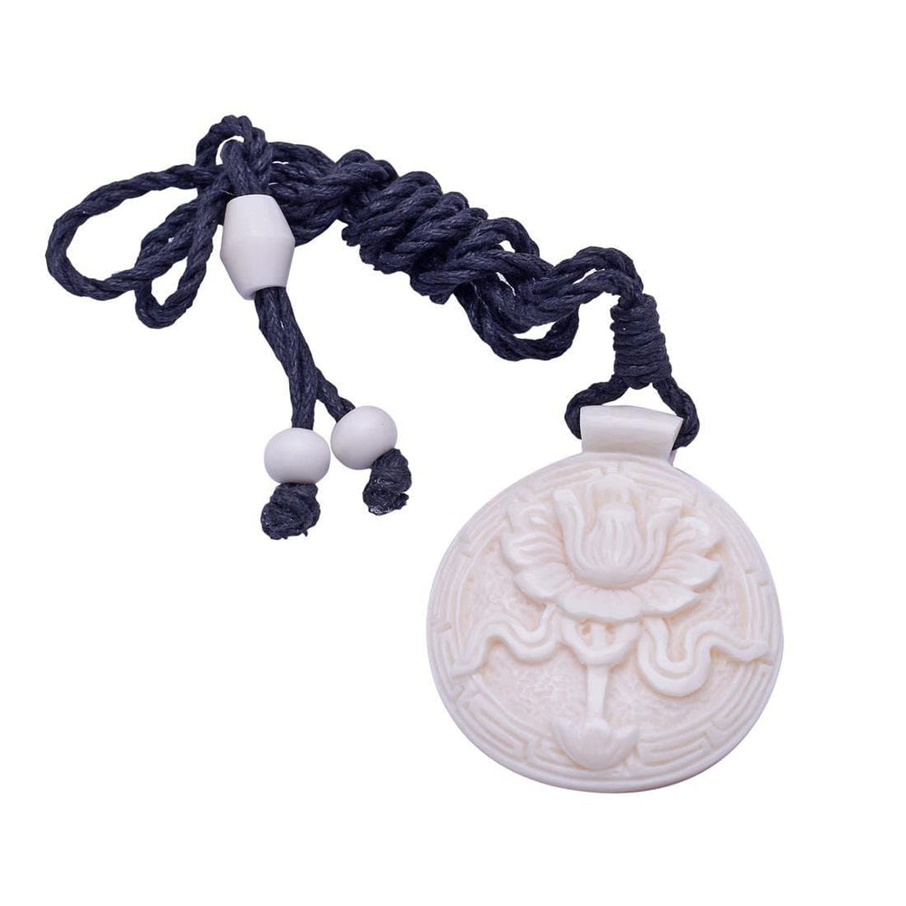 Load image into Gallery viewer, Bone Tibetan Lotus Flower Buddha Amulet Charm Pendant Necklace