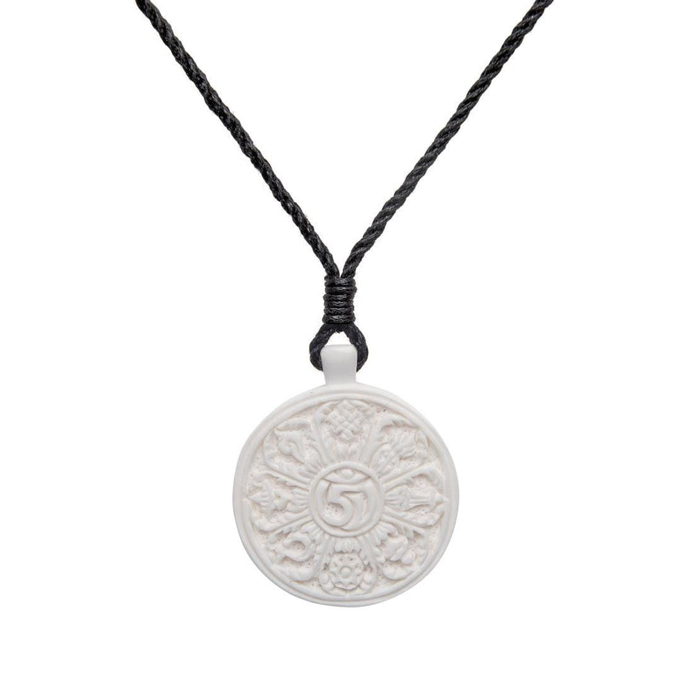 Load image into Gallery viewer, Bone Tibetan Buddhist Om Sacred Symbol Charm Pendant Necklace