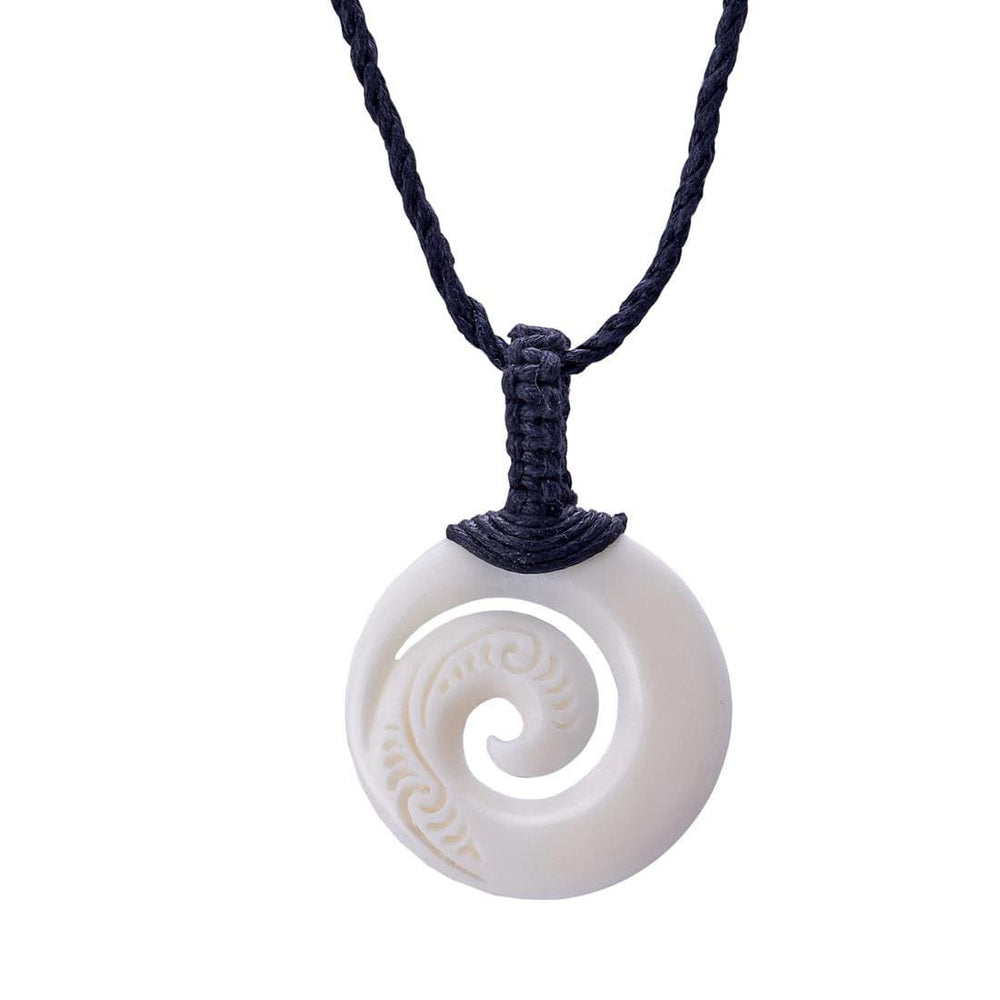 Load image into Gallery viewer, Bone Maori Koru Spiral Round Charm Pendant Necklace