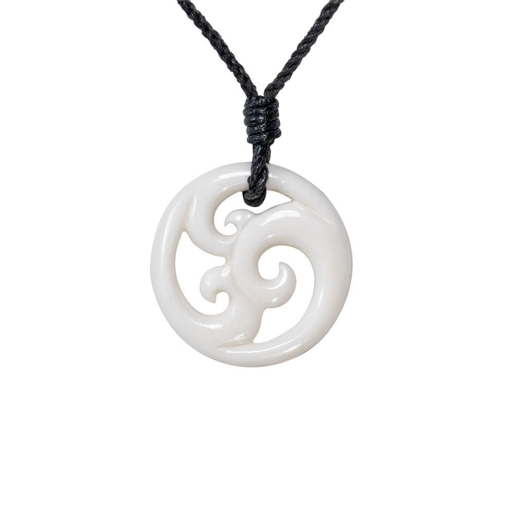 Hand Carved Bone Triple Koru Maori Wave Pendant Necklace