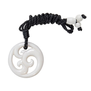 Load image into Gallery viewer, Hand Carved Bone Triple Koru Maori Wave Pendant Necklace