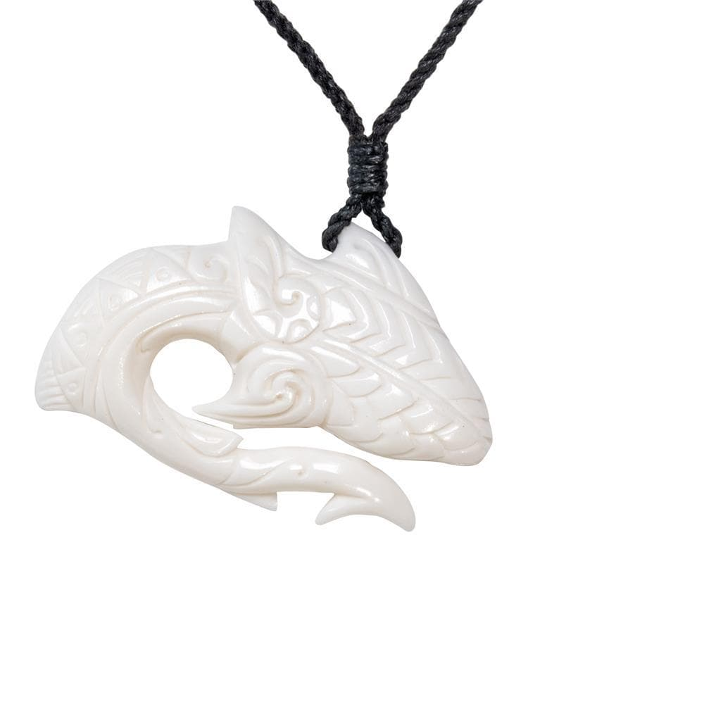 Hand Carved Bone Hei Matau Fish Hook Pendant Necklace
