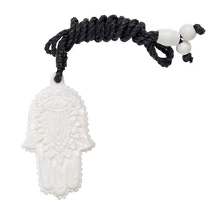 Hand Carved Bone Hamsa Hand Pendant Necklace