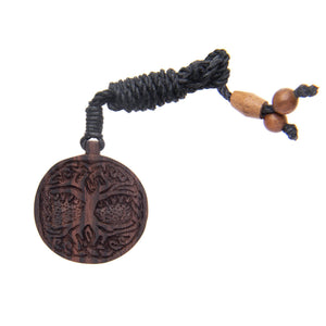 Wood Tree of Life Knowledge Charm Pendant Necklace