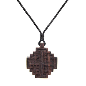 Wood Jerusalem Crusader's Cross Religious Pendant Necklace