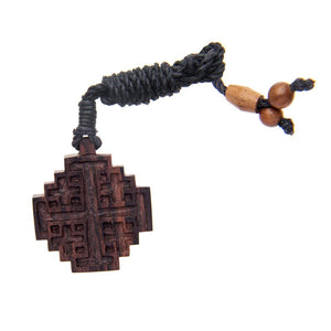 Load image into Gallery viewer, Wood Jerusalem Crusader's Cross Religious Pendant Necklace