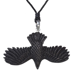 Sterling Silver & Wood Flying Eagle Pendant Necklace
