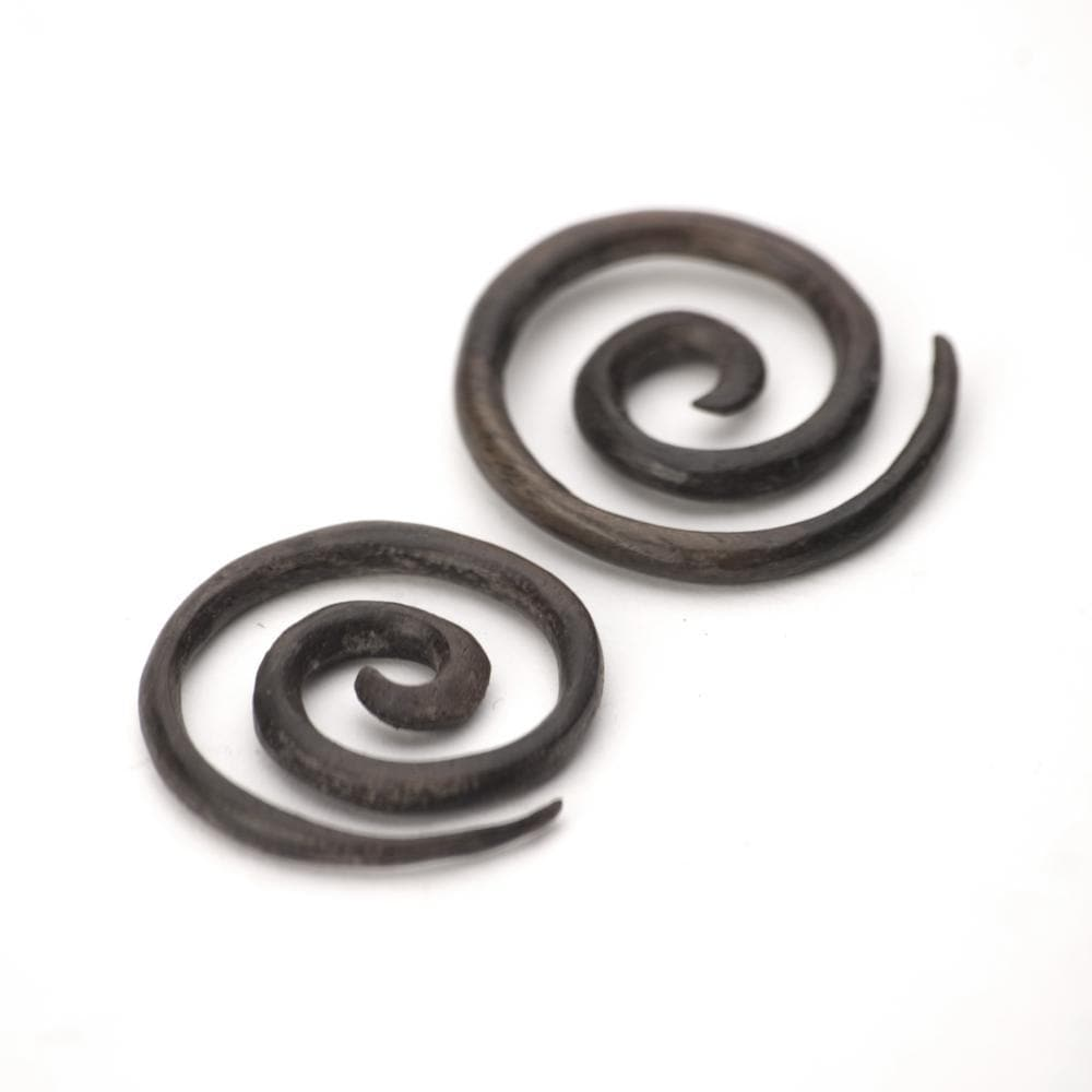 Wood Brown Spiral 3 mm 10 Gauge Stretcher Tribal Earrings