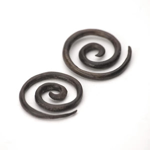 Load image into Gallery viewer, Wood Brown Spiral 3 mm 10 Gauge Stretcher Tribal Earrings