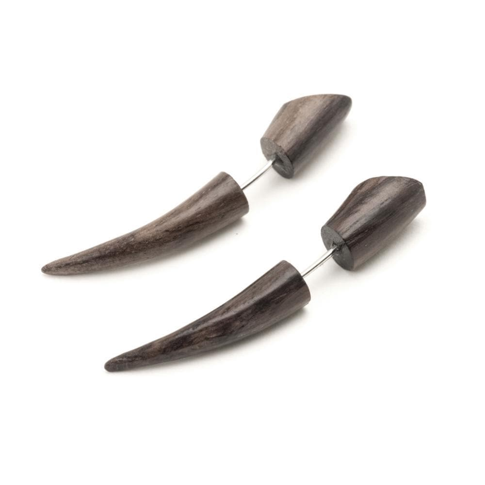 Load image into Gallery viewer, Wood Brown 45 mm Curved Spike Fake Stretcher Tribal Earrings