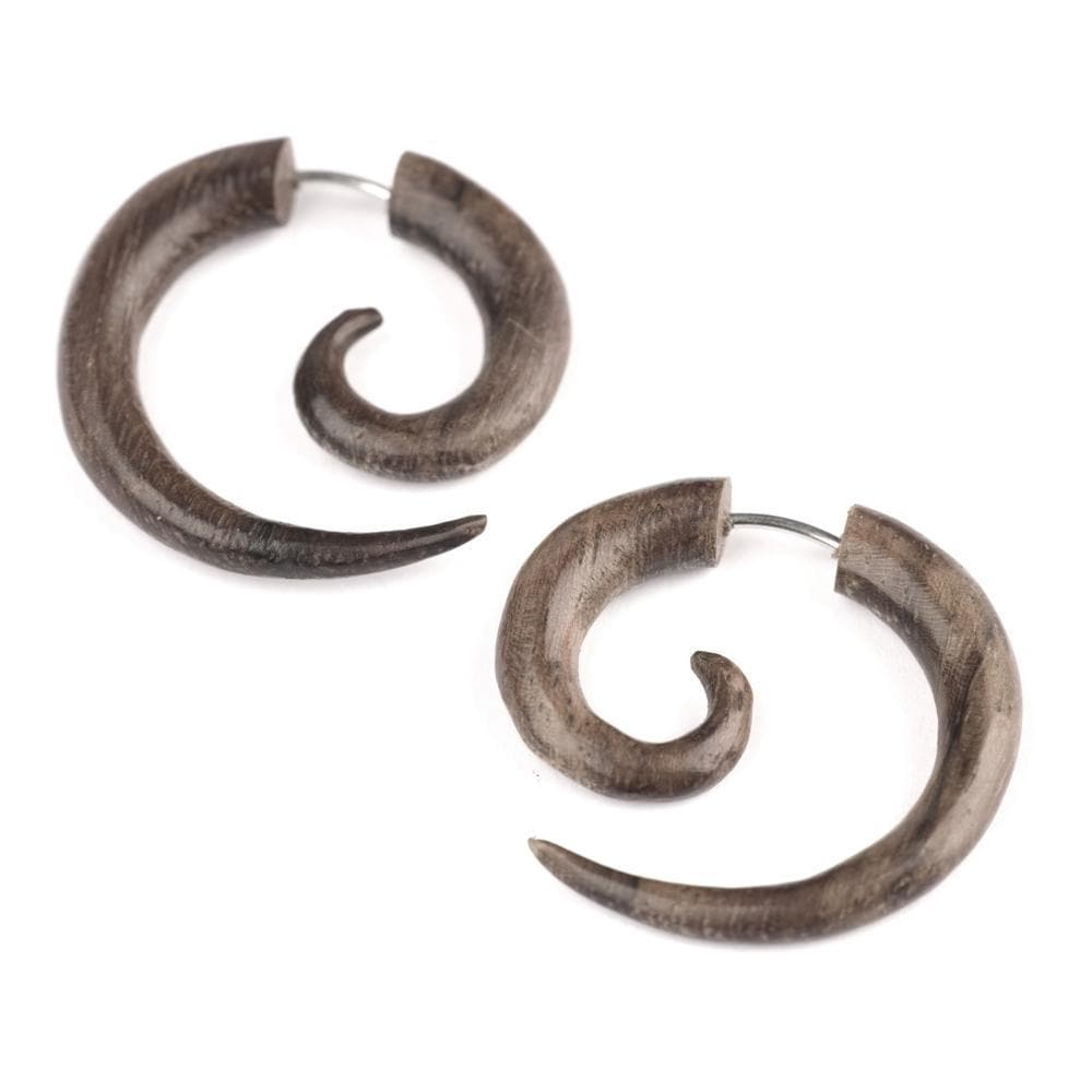 Wood Brown Round 25 mm Spiral Fake Stretcher Tribal Earrings
