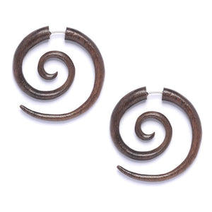 Wood Brown Round 40 mm Spiral Fake Stretcher Tribal Earrings