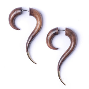Gold Brass Wood Spiral Fake Stretcher Tribal Earrings