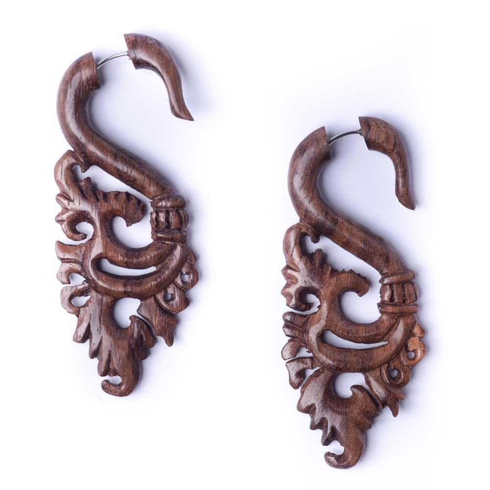Wood Flower Fake Stretcher Tribal Earrings