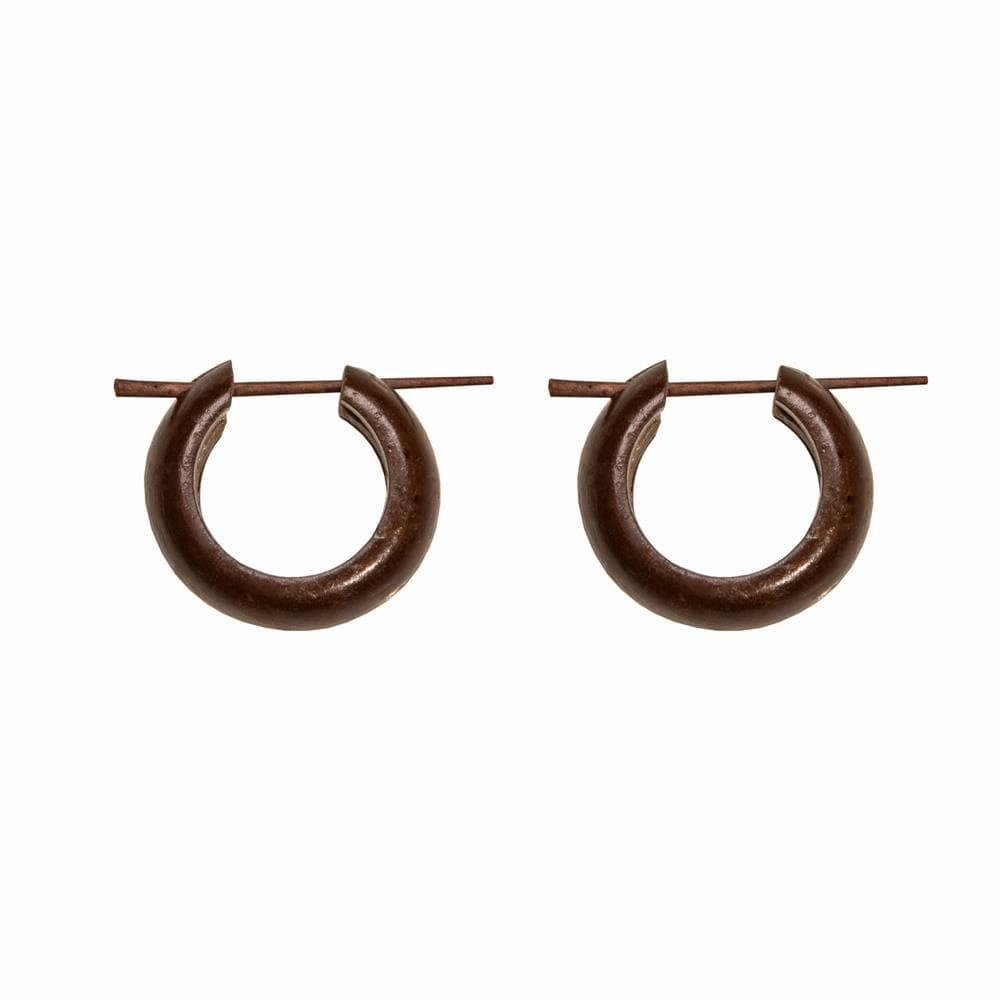 Coconut Wood Small Tribal Hoop Earrings