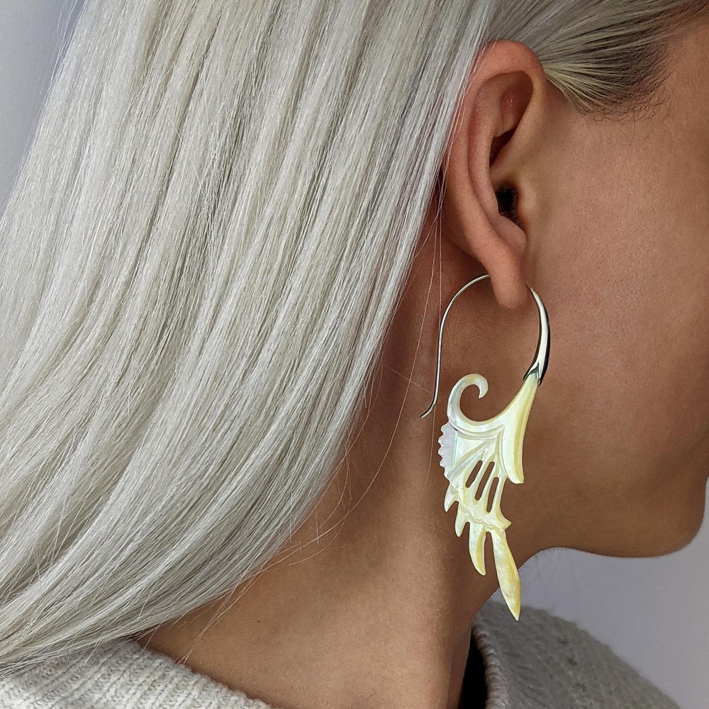 Sterling Silver Mother of Pearl Spiral Bird Wing Earrings