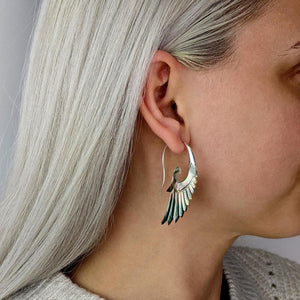 Sterling Silver Mother of Pearl Eagle Wing Earrings