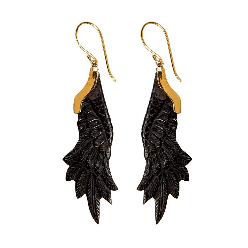 Load image into Gallery viewer, Gold Brass Horn Eagle Wing Dangle Earrings