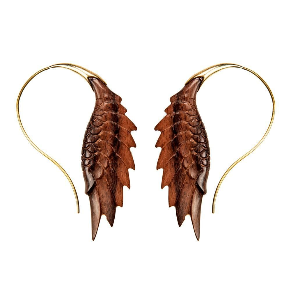 Load image into Gallery viewer, Gold Brass Wood Eagle Wing Shaped Earrings