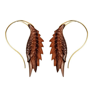Gold Brass Wood Eagle Wing Shaped Earrings