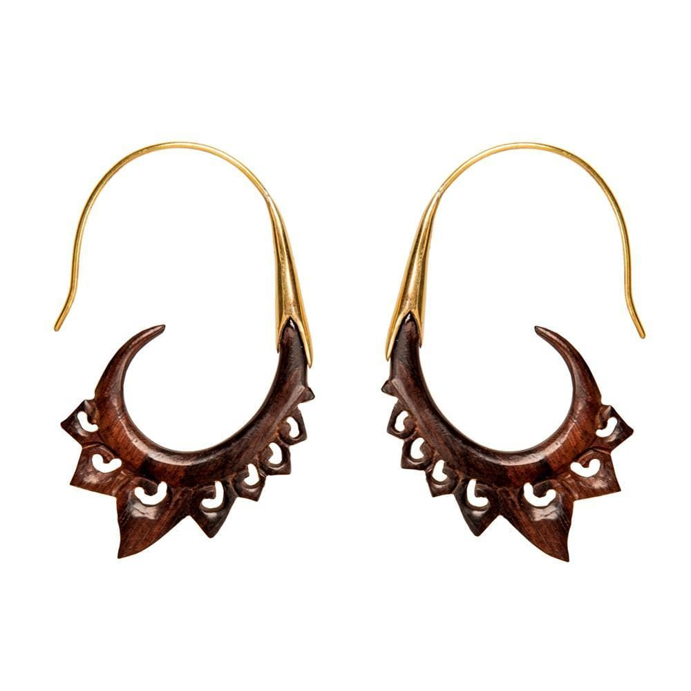Gold Brass Wood Tribal Lotus Flower Earrings
