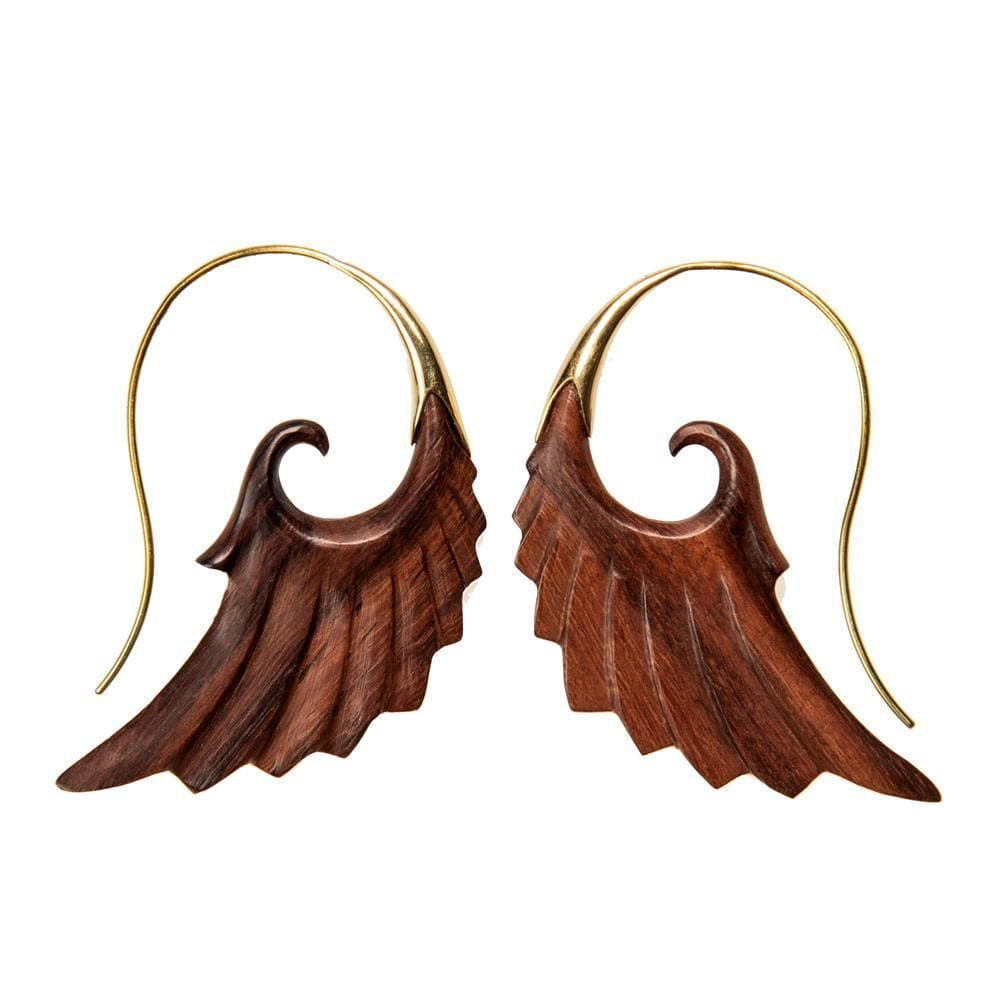 Gold Brass Wood Angel Wing Hei Matau Earrings