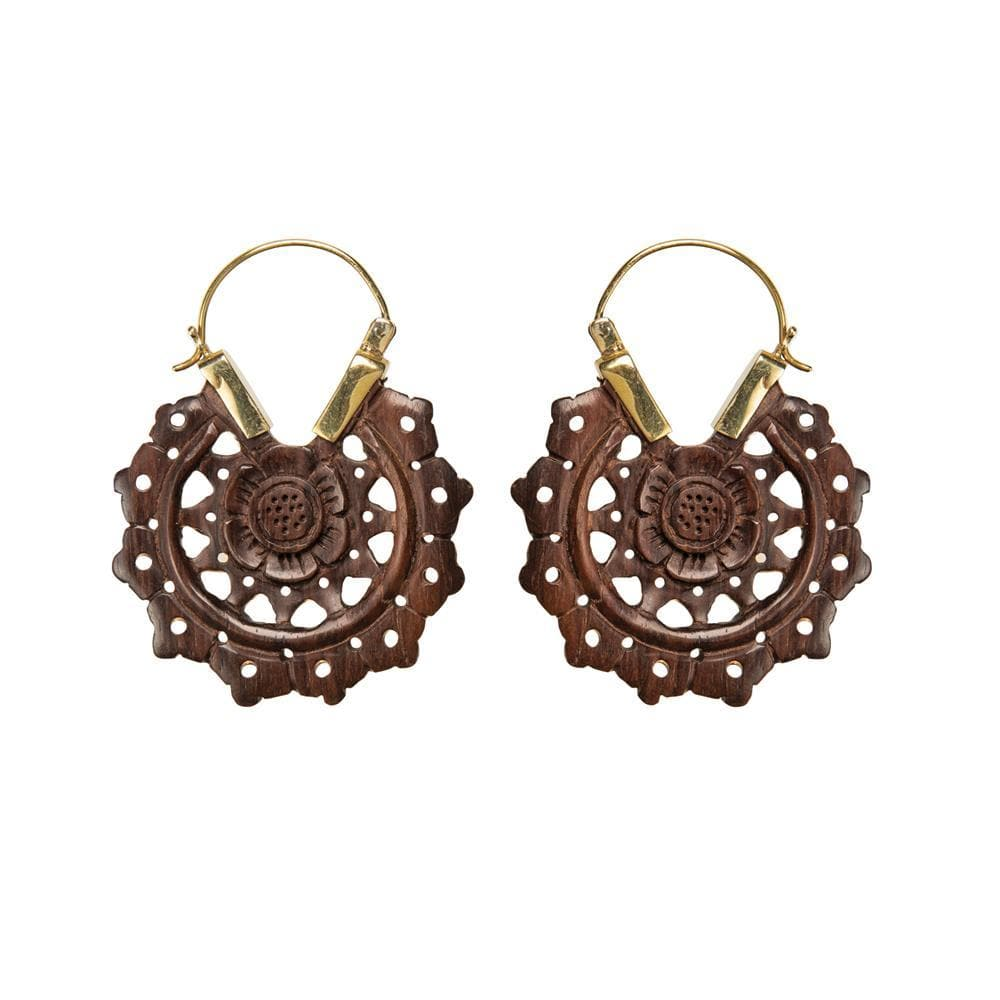 Gold Brass Wood Flower Mandala Dangle Earrings