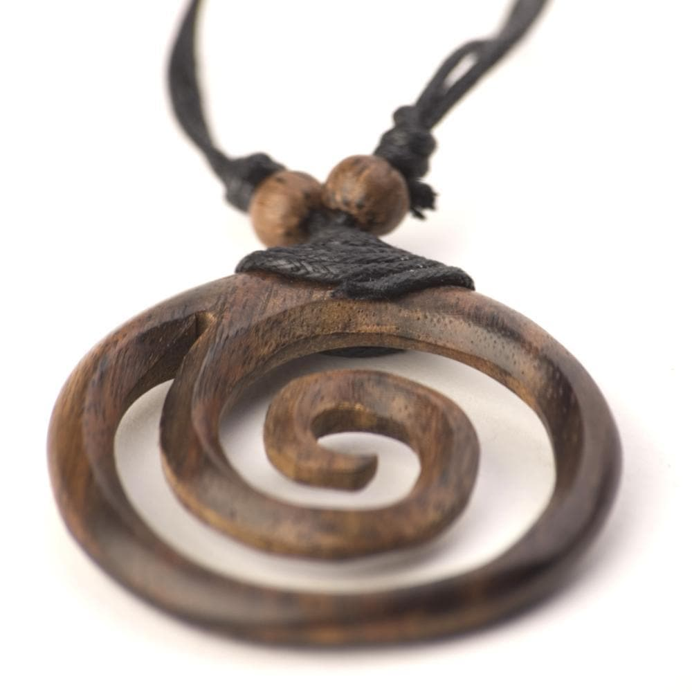 Wood Brown Spiral Round Tribal Adjustable Pendant Necklace